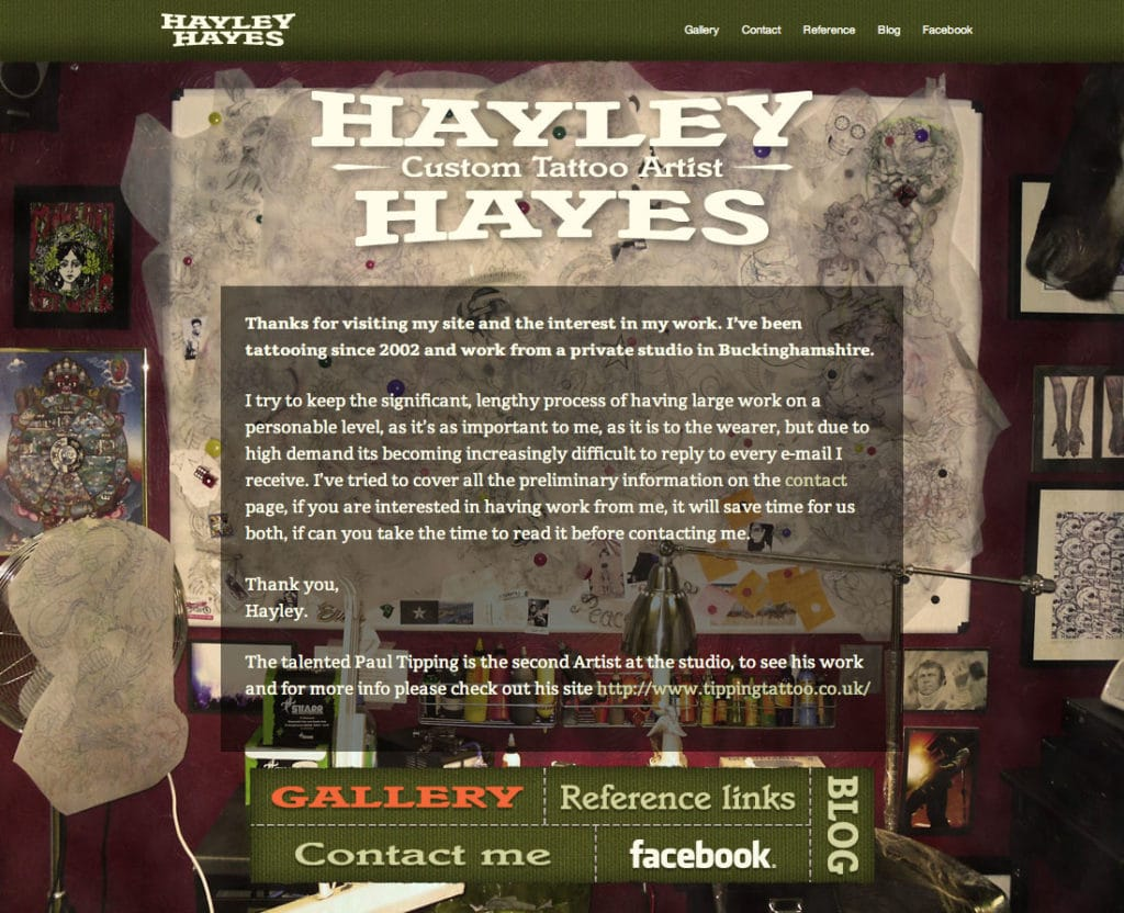 Hayley Hayes portfolio website